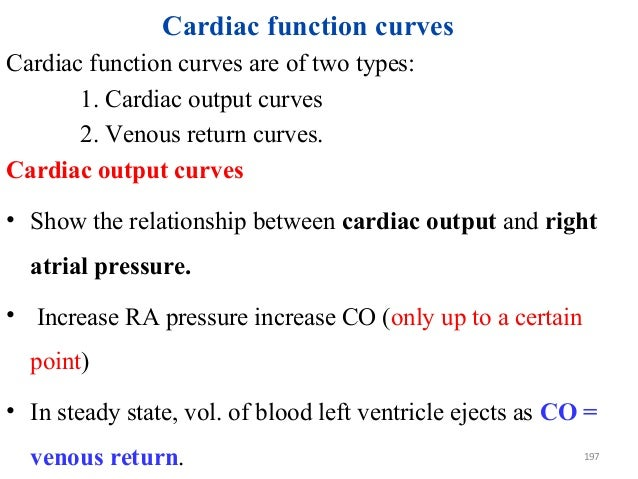 Cardiac function curves Cardiac function curves are of two types: 1. Cardiac output curves 2. Venous return curves. Cardia...