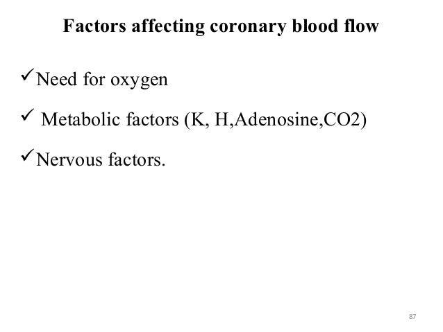 Factors affecting coronary blood flow Need for oxygen  Metabolic factors (K, H,Adenosine,CO2) Nervous factors. 87