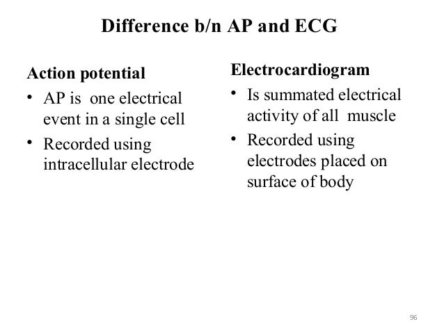 Difference b/n AP and ECG Action potential • AP is one electrical event in a single cell • Recorded using intracellular el...