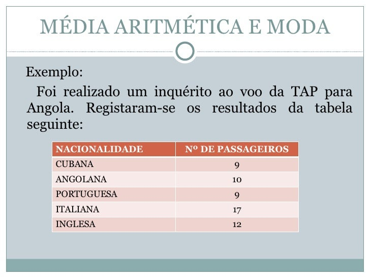 MÉDIA ARITMÉTICA E MODA <ul><li>Exemplo:  </li></ul><ul><li>Foi realizado um inquérito ao voo da TAP para Angola. Registar...