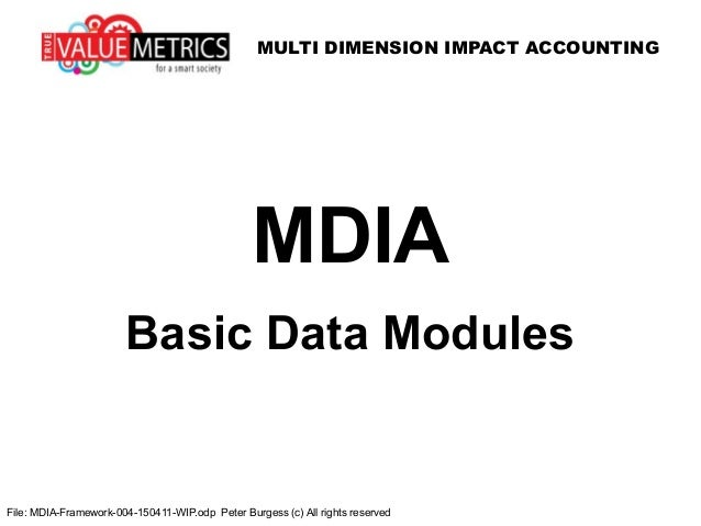MULTI DIMENSION IMPACT ACCOUNTING File: MDIA-Framework-004-150411-WIP.odp Peter Burgess (c) All rights reserved MDIA Basic...
