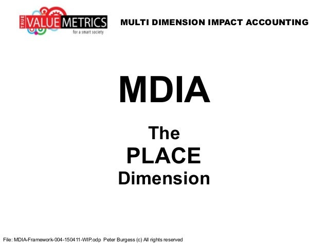 MULTI DIMENSION IMPACT ACCOUNTING File: MDIA-Framework-004-150411-WIP.odp Peter Burgess (c) All rights reserved MDIA The P...