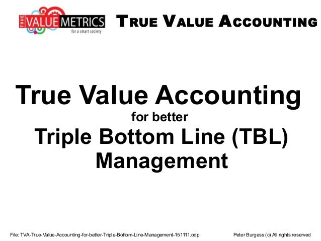 File: TVA-True-Value-Accounting-for-better-Triple-Bottom-Line-Management-151111.odp Peter Burgess (c) All rights reserved ...
