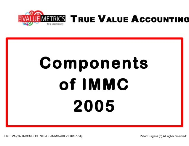 File: TVA-p3-00-COMPONENTS-OF-IMMC-2005-160207.odp Peter Burgess (c) All rights reserved TRUE VALUE ACCOUNTING Components ...