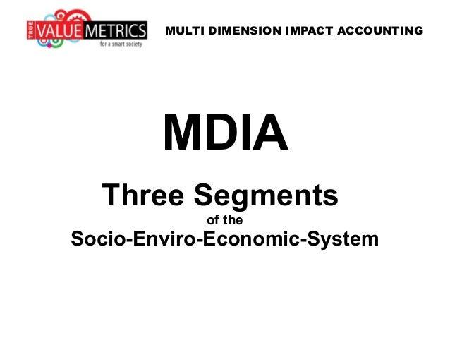 MDIA Three Segments of the Socio-Enviro-Economic-System MULTI DIMENSION IMPACT ACCOUNTING
