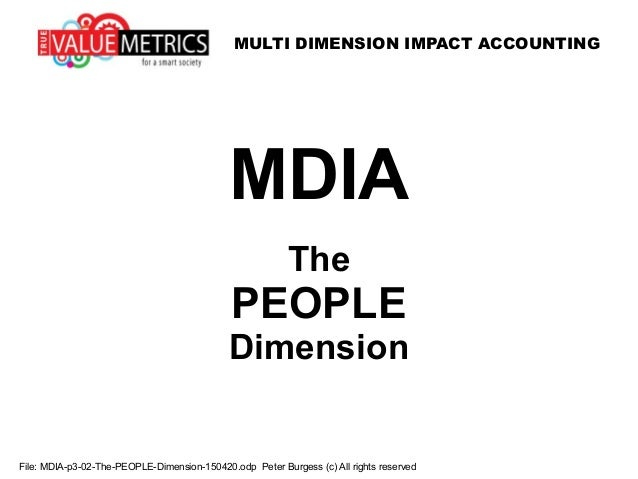 MULTI DIMENSION IMPACT ACCOUNTING File: MDIA-p3-02-The-PEOPLE-Dimension-150420.odp Peter Burgess (c) All rights reserved M...