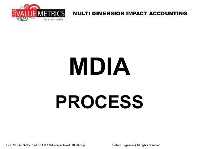 MULTI DIMENSION IMPACT ACCOUNTING MDIA PROCESS File: MDIA-p3-03-The-PROCESS-Perspective-150420.odp Peter Burgess (c) All r...