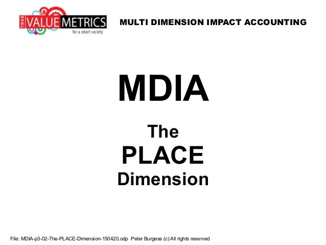 MULTI DIMENSION IMPACT ACCOUNTING File: MDIA-p3-02-The-PLACE-Dimension-150420.odp Peter Burgess (c) All rights reserved MD...
