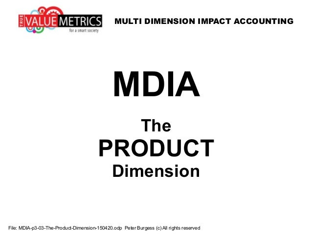 MULTI DIMENSION IMPACT ACCOUNTING File: MDIA-p3-03-The-Product-Dimension-150420.odp Peter Burgess (c) All rights reserved ...