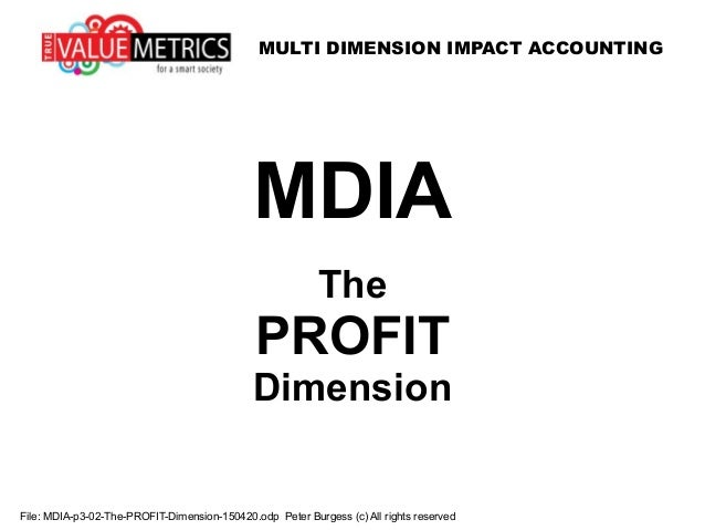 MULTI DIMENSION IMPACT ACCOUNTING File: MDIA-p3-02-The-PROFIT-Dimension-150420.odp Peter Burgess (c) All rights reserved M...