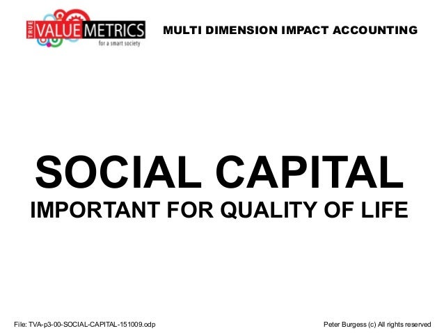 MULTI DIMENSION IMPACT ACCOUNTING SOCIAL CAPITAL IMPORTANT FOR QUALITY OF LIFE File: TVA-p3-00-SOCIAL-CAPITAL-151009.odp P...