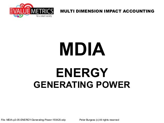 MULTI DIMENSION IMPACT ACCOUNTING File: MDIA-p3-05-ENERGY-Generating-Power-150420.odp Peter Burgess (c) All rights reserve...