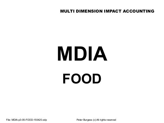 MULTI DIMENSION IMPACT ACCOUNTING File: MDIA-p3-05-FOOD-150420.odp Peter Burgess (c) All rights reserved MDIA FOOD