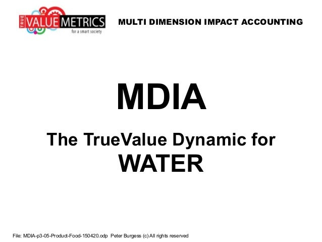 MULTI DIMENSION IMPACT ACCOUNTING File: MDIA-p3-05-Product-Food-150420.odp Peter Burgess (c) All rights reserved MDIA The ...