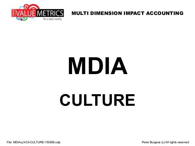 MULTI DIMENSION IMPACT ACCOUNTING File: MDIA-p3-03-CULTURE-150606.odp Peter Burgess (c) All rights reserved MDIA CULTURE
