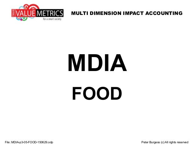 MULTI DIMENSION IMPACT ACCOUNTING File: MDIA-p3-05-FOOD-150629.odp Peter Burgess (c) All rights reserved MDIA FOOD