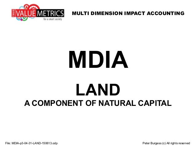 MULTI DIMENSION IMPACT ACCOUNTING File: MDIA-p3-04-31-LAND-150613.odp Peter Burgess (c) All rights reserved MDIA LAND A CO...