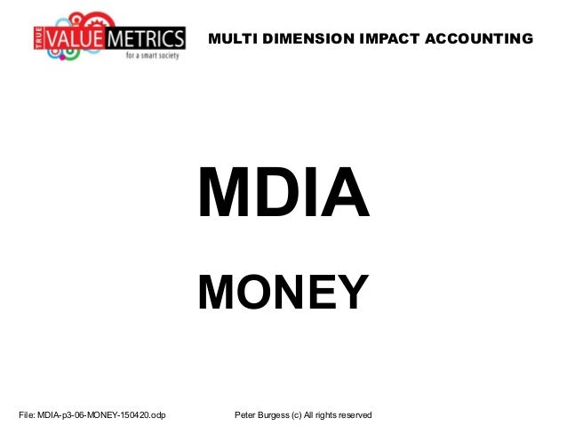MULTI DIMENSION IMPACT ACCOUNTING File: MDIA-p3-06-MONEY-150420.odp Peter Burgess (c) All rights reserved MDIA MONEY