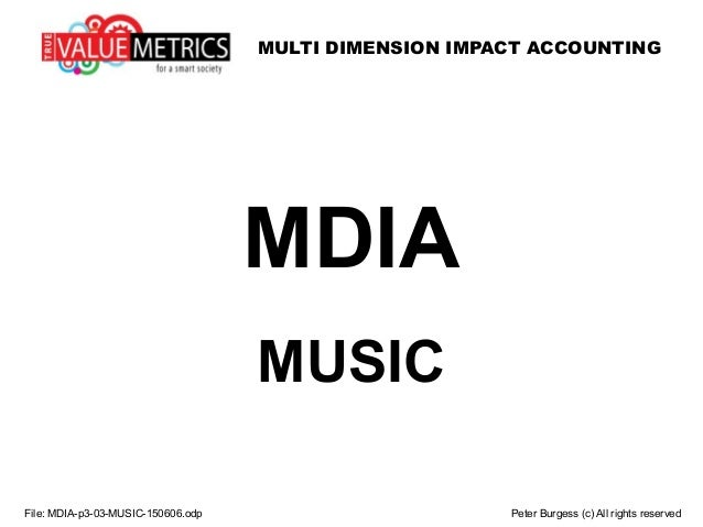 MULTI DIMENSION IMPACT ACCOUNTING File: MDIA-p3-03-MUSIC-150606.odp Peter Burgess (c) All rights reserved MDIA MUSIC