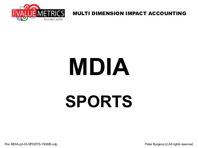 MULTI DIMENSION IMPACT ACCOUNTING File: MDIA-p3-03-SPORTS-150606.odp Peter Burgess (c) All rights reserved MDIA SPORTS
