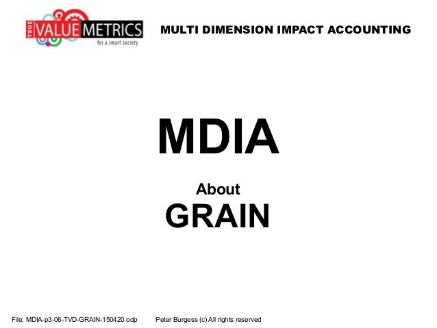 MULTI DIMENSION IMPACT ACCOUNTING File: MDIA-p3-06-TVD-GRAIN-150420.odp Peter Burgess (c) All rights reserved MDIA About G...