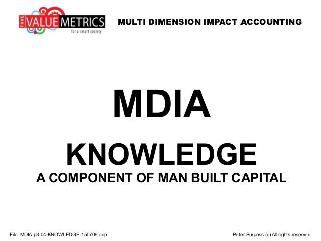 MULTI DIMENSION IMPACT ACCOUNTING MDIA KNOWLEDGE A COMPONENT OF MAN BUILT CAPITAL File: MDIA-p3-04-KNOWLEDGE-150709.odp Pe...