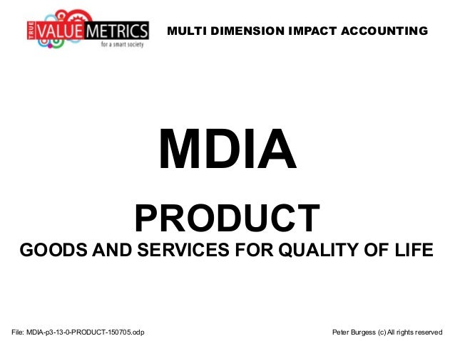 MULTI DIMENSION IMPACT ACCOUNTING File: MDIA-p3-13-0-PRODUCT-150705.odp Peter Burgess (c) All rights reserved MDIA PRODUCT...