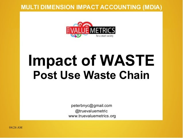 04:26 AM peterbnyc@gmail.com www.truevaluemetrics.org MULTI DIMENSION IMPACT ACCOUNTING (MDIA) Impact of WASTE Post Use Wa...