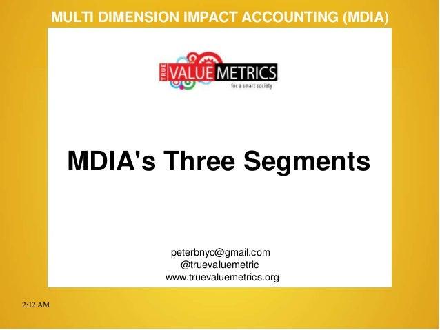 2:12 AM peterbnyc@gmail.com www.truevaluemetrics.org MULTI DIMENSION IMPACT ACCOUNTING (MDIA) MDIA's Three Segments @truev...