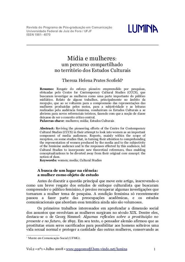 Revista do Programa de Pós-graduação em Comunicação Universidade Federal de Juiz de Fora / UFJF ISSN 1981- 4070  Lumina  M...