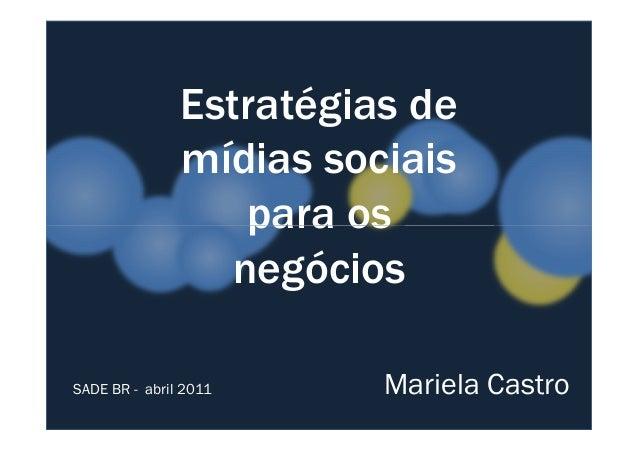 Estratégias de  mídias sociais  ppaarraa ooss  negócios  SADE BR - abril 2011 Mariela Castro