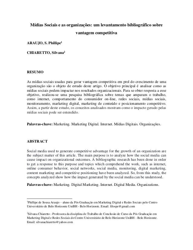 Mídias Sociais e as organizações: um levantamento bibliográfico sobre vantagem competitiva ARAUJO, S. Phillipe1 CHIARETTO,...