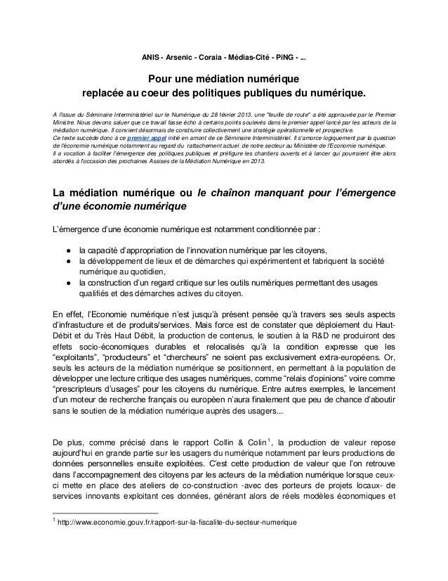 ANIS - Arsenic - Coraia - Médias-Cité - PiNG - ...                        Pour une médiation numérique           replacée ...
