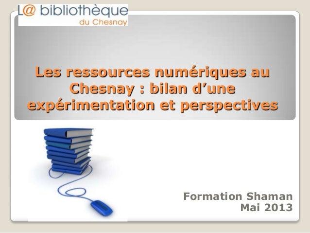 Les ressources numériques auChesnay : bilan d'uneexpérimentation et perspectivesFormation ShamanMai 2013