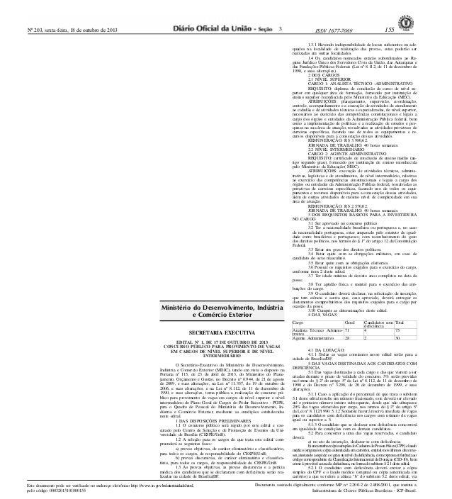 3  Nº 203, sexta-feira, 18 de outubro de 2013  .  Ministério do Desenvolvimento, Indústria e Comércio Exterior  1.3.1 Have...