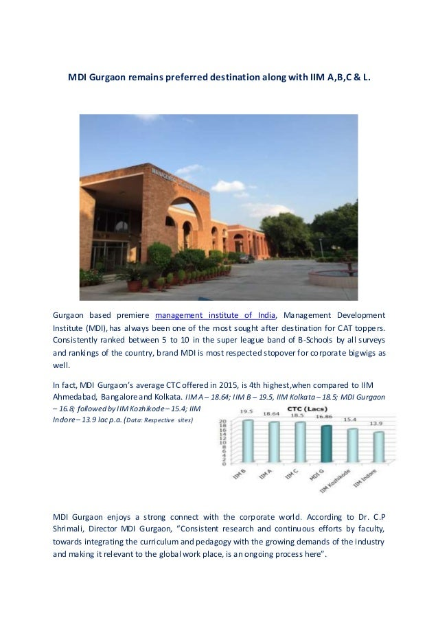 MDI Gurgaon remains preferred destination along with IIM A,B,C & L. Gurgaon based premiere management institute of India, ...