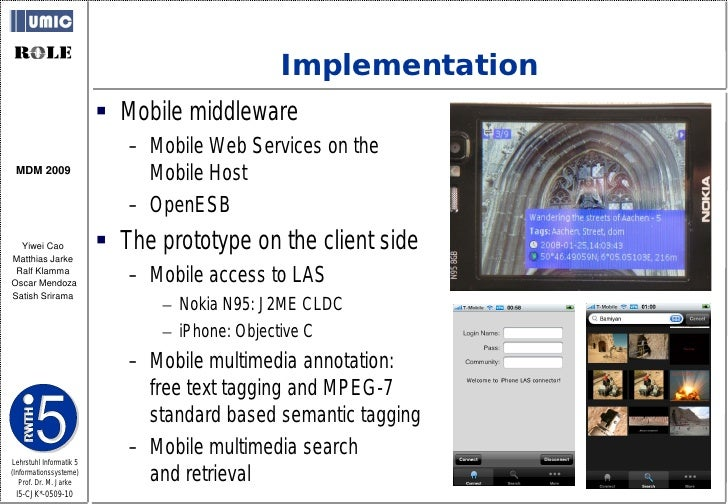 Implementation                           Mobile middleware                             – Mobile Web Services on the  MDM ...
