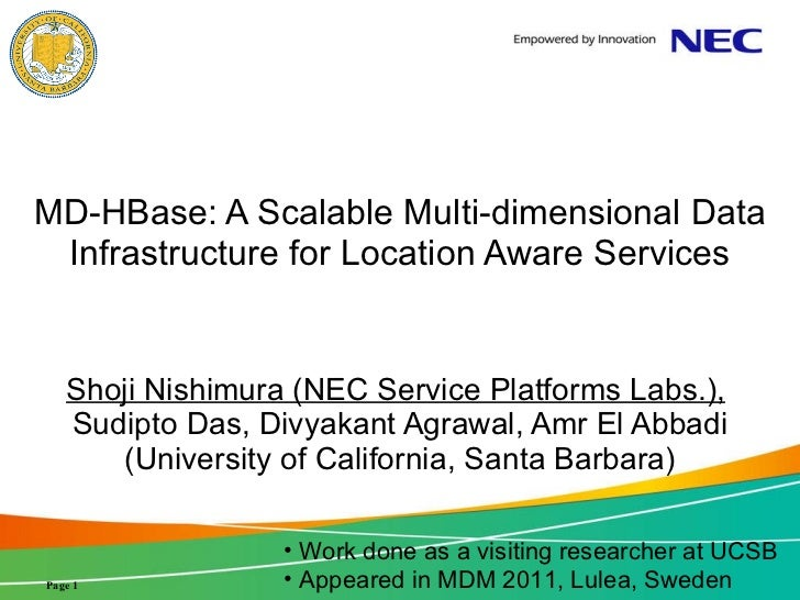 MD-HBase: A Scalable Multi-dimensional Data Infrastructure for Location Aware Services Shoji Nishimura (NEC Service Platfo...