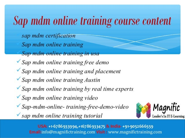 sap mdm online training in us