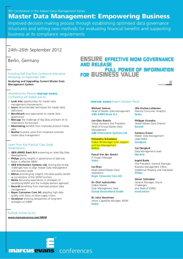conferencesmarcus evans Expert Speakers Panel:Including Half-Day Post-Conference InteractiveWorkshop on September 26th:Ana...
