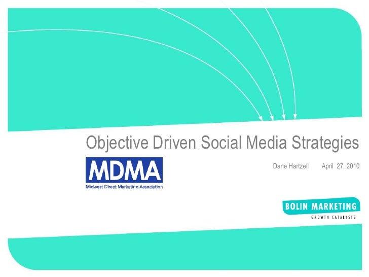 1     Objective Driven Social Media Strategies                            Dane Hartzell   April 27, 2010