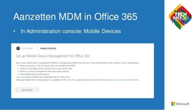 Mobile device management in office 365 techdays 2015 - Office for mobile devices ...