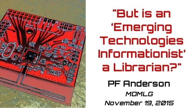 "Pixelated image of red circuit board after soldering. ""But is an 'Emerging Technologies Informationist' a Librarian?"" PF A..."