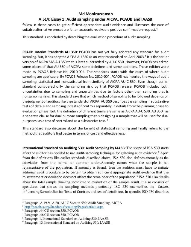 Comparative analysis of GAAS/AS/IAS-Essay 1