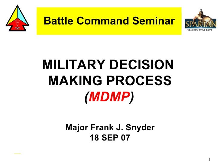Battle Command Seminar MILITARY DECISION  MAKING PROCESS ( MDMP )   Major Frank J. Snyder 18 SEP 07