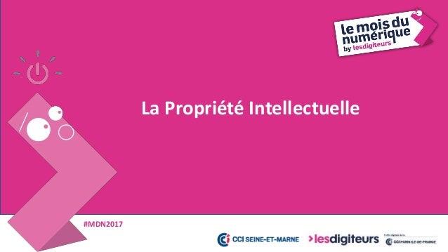 #MDN2017 Propriété Industrielle Propriété Littéraire et Artistique Qu'est ce que la Propriété Intellectuelle ? * Titres no...