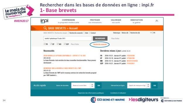 #MDN2017 Rechercher dans les bases de données en ligne : inpi.fr 1- Base brevets 35