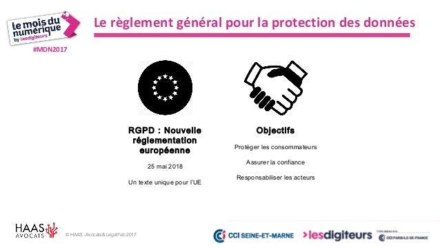 #MDN2017 © HAAS -Avocats& LegalFab 2017 RGPD : les nouveaux principes Minimisation des données Proportionnalité Pseudonymi...