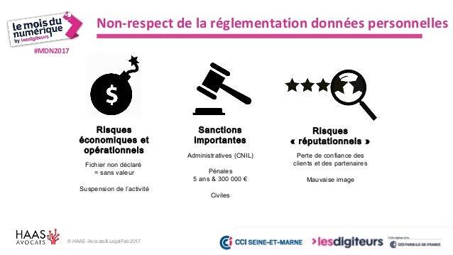 #MDN2017 © HAAS -Avocats& LegalFab 2017 Augmentation des sanctions administratives 10 000 000 € ou 2% CA Manquement à : Pr...