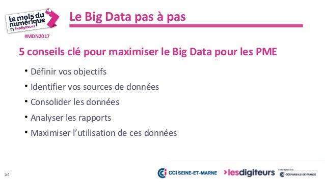 #MDN2017 Les bénéfices du Big Data pour les PME 55 Prendre des décisions data-driven